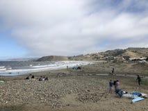 Lindamar, paradiso dei surfisti di Pacifica nell'area della baia fotografie stock libere da diritti