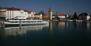 Lindau. The little harbor of the Bavarian town of Lindau on Lake Constance. The town is built on a small island connected with the mainland only by a bridge Stock Photography