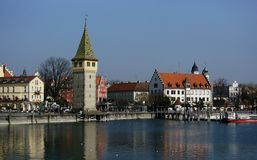 Lindau. The little harbor of the Bavarian town of Lindau on Lake Constance. The town is built on a small island connected with the mainland only by a bridge Royalty Free Stock Photography