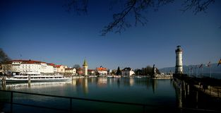 Lindau. The little harbor of the Bavarian town of Lindau on Lake Constance. The town is built on a small island connected with the mainland only by a bridge Stock Photos