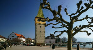 Lindau. Bavaria, is located on Lake Constance. The medieval town, close to Austria and Switzerland, is built on an island connected to the mainland only by a Stock Photography