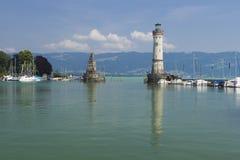 Lindau- Bavarian Lion and Lighthouse. On the Lake Konstanz, Germany Royalty Free Stock Image