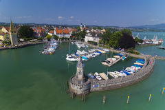 Lindau harbor and the Bavarian Lion Royalty Free Stock Image