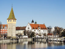 Lindau harbor with buildings. Image of the harbor of Lindau with buildings at lake constance in Germany Stock Photo