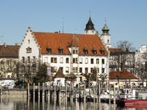Lindau harbor with buildings Stock Photography