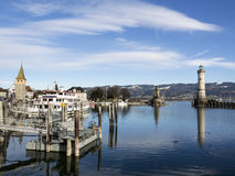 Lindau harbor with buildings Stock Images