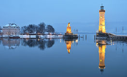 Lindau harbor at dusk. Twilight on Lindau harbor in winter, Bodensee, Germany Stock Images