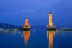 Lindau harbor at dusk Royalty Free Stock Image