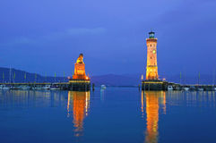 Lindau harbor at dusk. During blue hour. Lake Bodensee, Germany Stock Image
