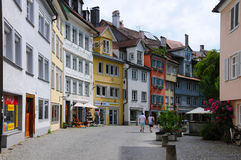 Lindau. Is an idyllic  town at the banks of  lake Constance, Bodensee, in Germany. In summer, there are many tourists in this village .Photo was taken in june Stock Photo