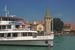 Lindau, Lake Constance, Germany. Lindau, Germany - July 01, 2010: Famous ship called ,Weisse Flotte, in Lindau taking on passengers for a trip on lake constance Stock Photos