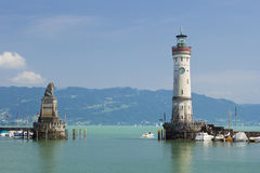 Lindau Lighthouse and Bavarian Lion Stock Photos
