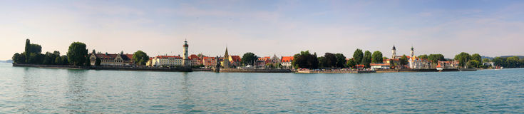 Lindau Panorama. Panorama of the city Island of Lindau in the Constance Lake stock image