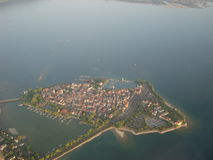 Lindau from the sky. Lindau island (Bavaria, Germany) in the Lake of Constance Royalty Free Stock Photo