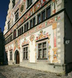 Lindau Town Hall. The Lindau (Lake Constance, Germany) town hall was built in 1422. The back side (shown) was decorated in the 19th century. The paintings tell Stock Photos