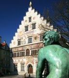Lindau Town Hall. The town hall of Lindau, Lake Constance (Bavaria), with a sculpture of a man in the foreground which is part of a fountain. Lindau, a town Stock Photos