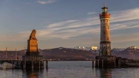 Lindauhaven, de Tijdtijdspanne van het Meer van Konstanz, Duitsland stock videobeelden