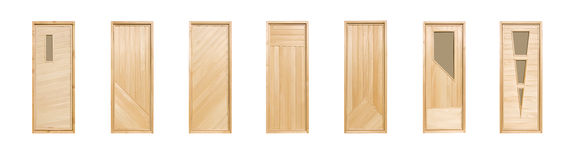 Linden doors isolated. Seven linden doors isolated on white background Stock Images