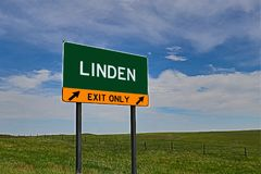 US Highway Exit Sign for Linden. Linden `EXIT ONLY` US Highway / Interstate / Motorway Sign Stock Photo
