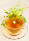 Linden flowers and cup of healthy tea Royalty Free Stock Photo