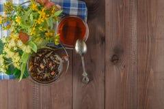 Linden flowers, herbal medicine stock photography