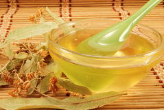 Linden honey with a spoon Royalty Free Stock Photos