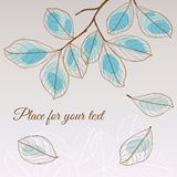 Linden leaf blue style with place for your text Royalty Free Stock Photos