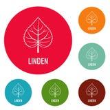 Linden leaf icons circle set vector. Isolated on white background Royalty Free Stock Photo