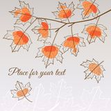 Linden leaf orange style with place for your text Royalty Free Stock Photos