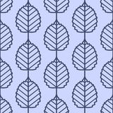 Linden leaves seamless vector pattern. Vintage style and colors (blue). Royalty Free Stock Photo