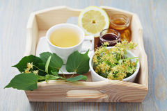 Linden tea. Cup of tea and linden flowers - tea time Stock Photos
