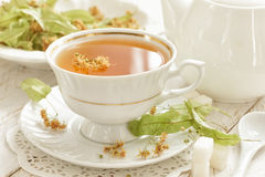 Linden tea. In a cup Stock Photography