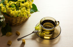 Linden tea cup and woven basket with linden flowers Royalty Free Stock Image