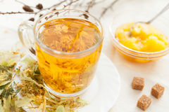 Linden tea with floral honey Royalty Free Stock Images