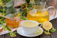 Linden tea with honey Stock Images