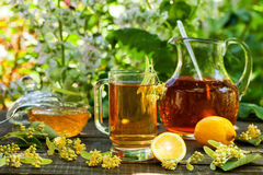 Linden tea with lemon and honey Royalty Free Stock Photos