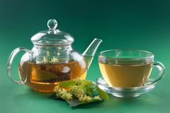 Linden tea in transparent tea pot and cup. Flowers of linden and linden tea in transparent tea pot and cup on green plain background royalty free stock photos