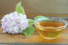 Linden teacup. Teacup with linden tea with linden flowers around royalty free stock images