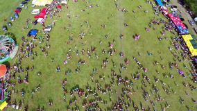 Linden tree festival, aerial perspective stock video