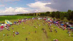 Linden tree festival, aerial perspective stock video footage
