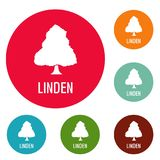 Linden tree icons circle set vector. Isolated on white background Royalty Free Stock Image
