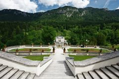 Linderhof castle garden - Germany. The  legendary extravagance of the German castle Linderhof -rococo-style castle inspired by Versailles itself and surrounded Stock Photo