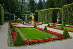 Linderhof Castle,Germany. The Linderhof Castle in Bavaria, Germany Stock Photography