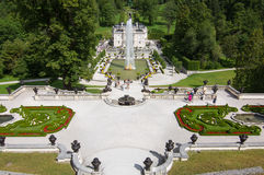 Linderhof castle with great fountain, Bavaria, Germany Stock Photography