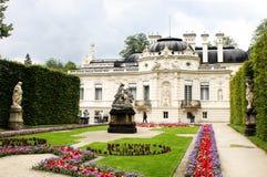 Linderhof palace. View on garden by Linderhof palace Stock Photos