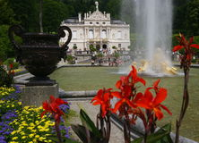 Linderhof Palace. Due to the high number of sunny days, 2012 was a good year for Bavaria's tourism industry. The picture shows King Ludwig's Linderhof Palace Royalty Free Stock Photo