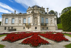 Linderhof Palace. East view with the side garden. Bavaria, Germany. Royalty Free Stock Image