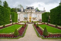 Linderhof Palace. East view with the side garden. Bavaria, Germany. Royalty Free Stock Photography