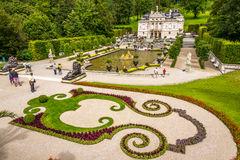 Linderhof palace with fountain and garten Royalty Free Stock Photo