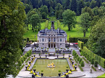 Linderhof palace in park landscape Royalty Free Stock Image